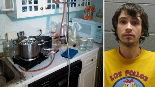 Meth Cook Busted Wearing Los Pollos Hermanos Shirt From Breaking Bad
