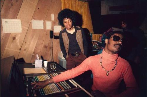 Michael Jackson and Stevie Wonder at the Motown Studios, 1974