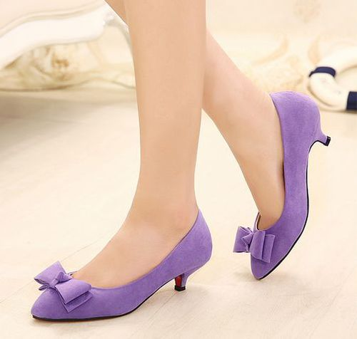 New Item Hot Popular Sharp Toe Bow Genuine Leather Lining Pumps
