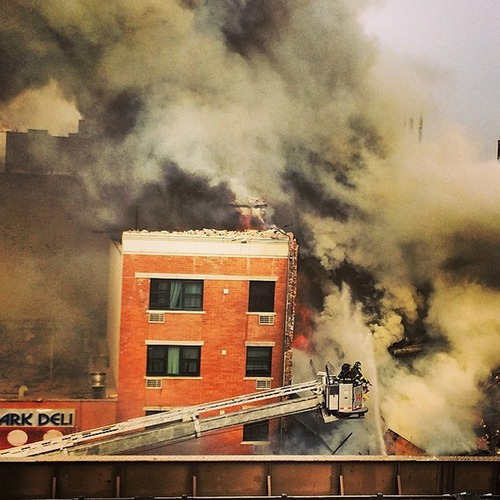 Scene pic of reported explosion in NYC's E.Harlem