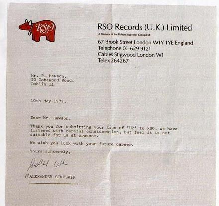 A rejection letter Bono received from a record label in 1979.