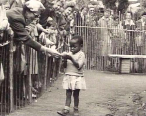 African girl in a human zoo, Belgium 1958.