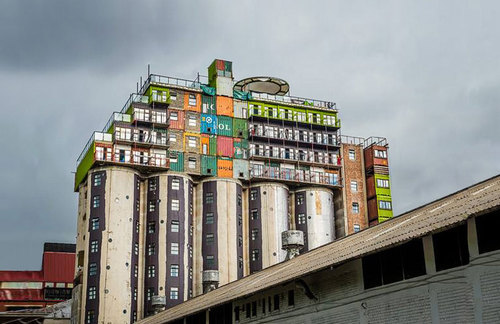 Mill Junction silo stacked container apartments in Johannesburg.