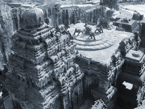Gigantic Kailasa Temple Emerging From A Mountainside
