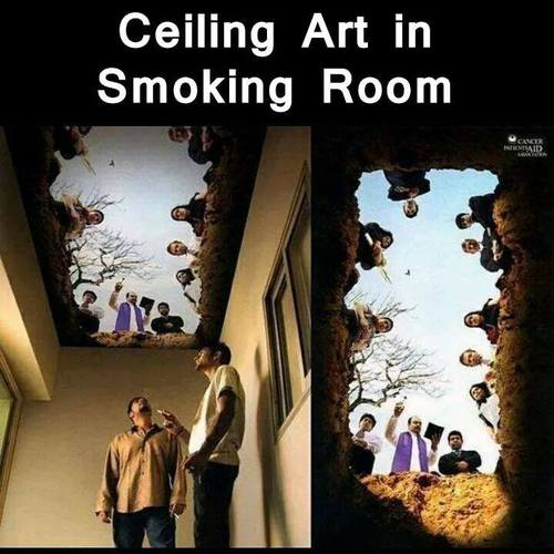 Ceiling art in smoking room