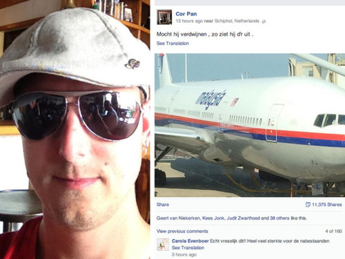 Malaysia Airlines Flight MH17 passenger Cor Pan's last Facebook post proves tragically prophetic |