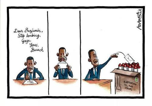 Le cartoon sur Obama Israel et Gaza de Christian Adams du Telegraph