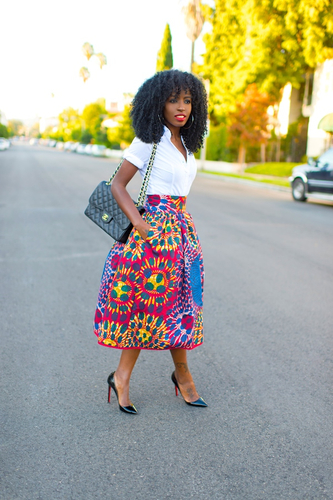 White Oxford Shirt + Stella Jean Midi Skirt