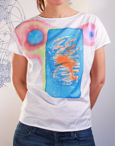 Women medium size summer shirt handmade, hand printed with abstract pattern color