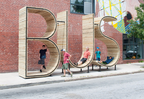 Wait for the Bus inside a Giant Typographic Sculpture in Baltimore