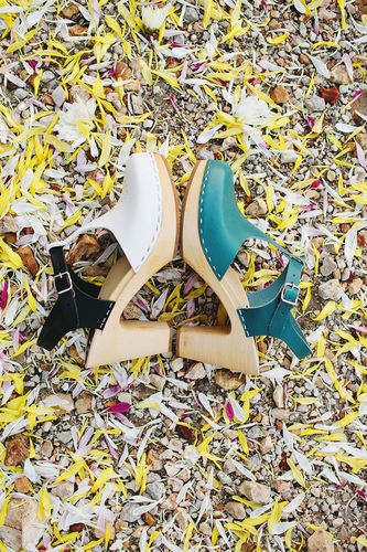 A Beautiful Mess + Swedish Hasbeens = wooden shoes