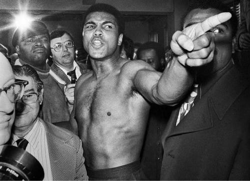 Muhammad Ali during the weigh-in process before his second boxing match with Joe Frazier, Jan. 23, 1