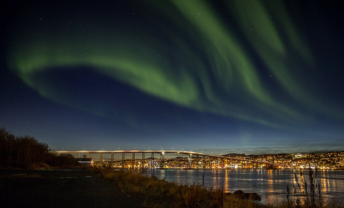 Aurora borelias over the city Tromso in northern Norway