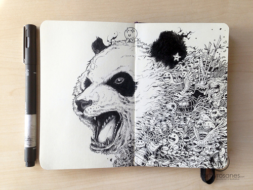 MOLESKINE DOODLES: Black and White Cat-Foot by kerbyrosanes on deviantART