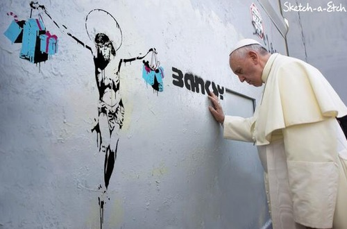 #banksy #popefrancis #streetart #art #world #illustrator