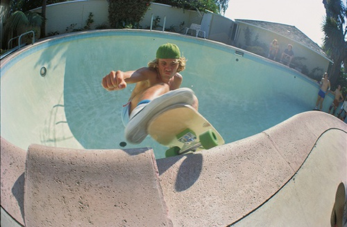 Jay Adams, pool riding in LA, 1976 by Glen E Friedman