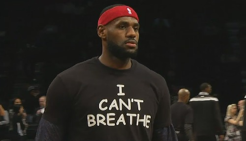 "LeBron James joins Kyrie Irving in wearing ""I Can't Breathe"" T-shirt before game in Brooklyn"