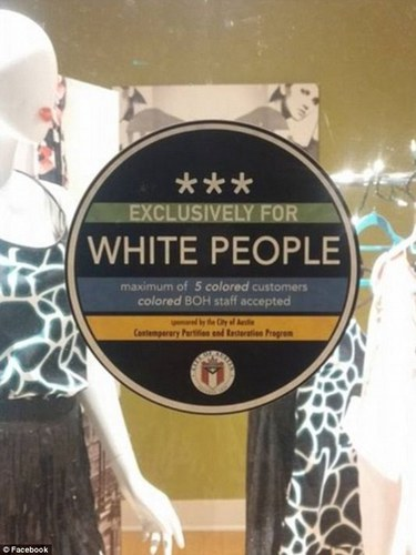 Austin mayor condemns racist 'Exclusively for White People' stickers | Daily Mail Online