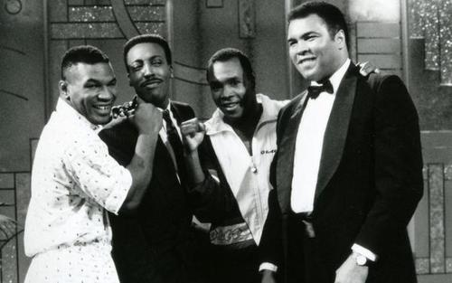 Mike Tyson, Arsenio Hall, Sugar Ray Leonard, and Muhammad Ali, 1990.