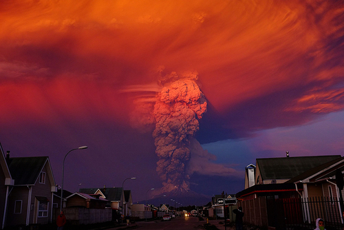 A view of Calbuco volcano from Puerto Montt, Chile.