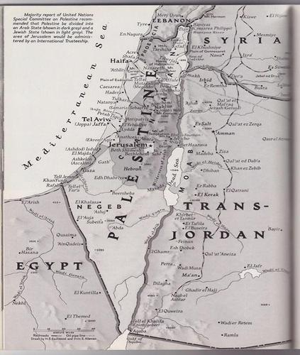 Map of Palestine from a 1947 issue of National Geographic