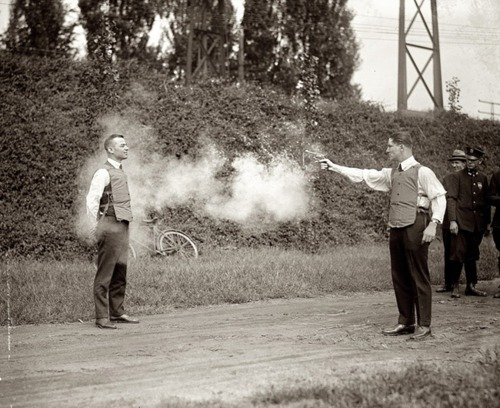 1923, the glimpse of bulletproof vest testing.