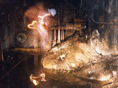 "The molten radioactive core after the Chernobyl accident, known as the ""Elephant's foot."""