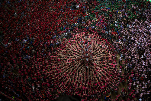 Creating human towers in Spain