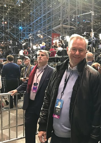 "Photo of Google/Alphabet Chairman Eric Schmidt wearing Clinton campaign ""staff"" badge"