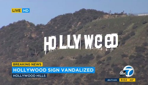 Hollywood residents awoke Sunday, Jan. 1, 2017, to find the iconic Hollywood sign had been altered t
