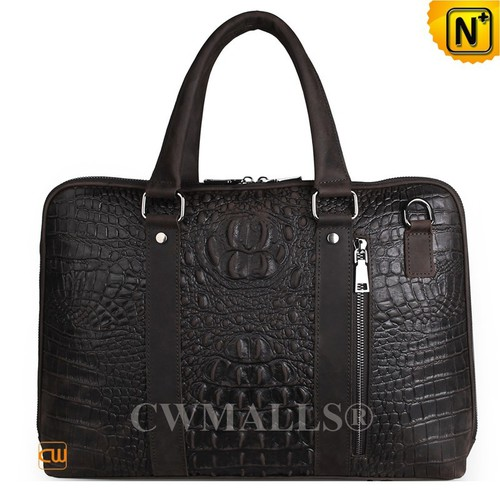 CWMALLS® Houston Croc-Embossed Leather Briefcase CW907127
