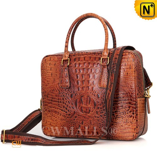 CWMALLS® Minneapolis Croc-Embossed Leather Briefcase CW907126