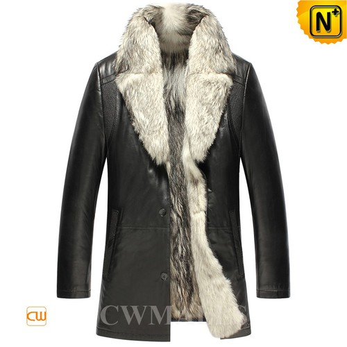 CWMALLS® Canberra Wolf Fur Leather Coat CW855587