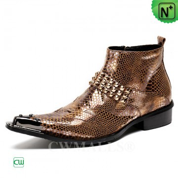 CWMALLS® Fashion Embossed Leather Dress Boots CW707218