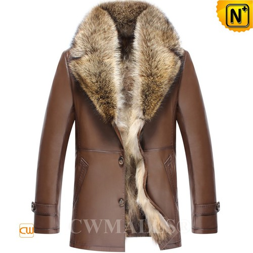 CWMALLS® Boise Raccoon Fur Lined Leather Coat CW807616[Updated Styles 2017]
