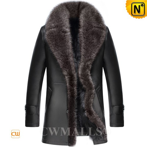 CWMALLS® London Raccoon Fur Leather Coat CW807615[Updated Styles 2017]