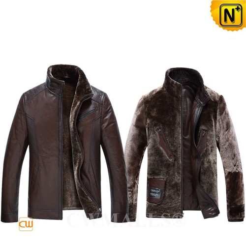 CWMALLS.COM   CWMALLS® Anchorage Patent Shearling Jacket CW890005[Custom Leather Jacket]