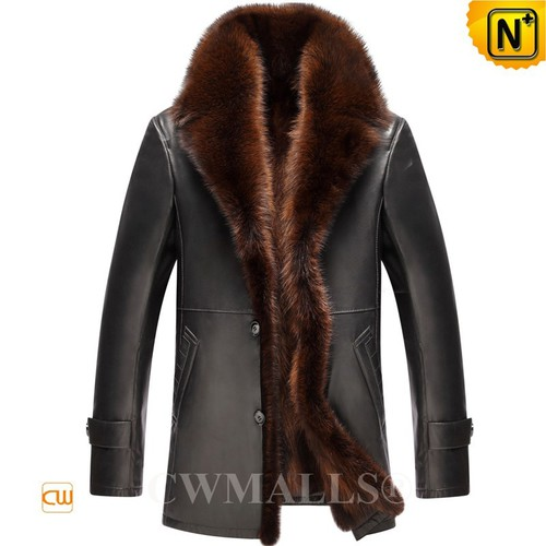 USA Brand   CWMALLS® Chicago Raccoon Fur Lined Leather Coat CW807617[Black Friday 2017]