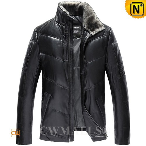 USA Brand   CWMALLS® Boise Down Leather Jacket Shearling Collar CW807039[Thanksgiving Gifts]