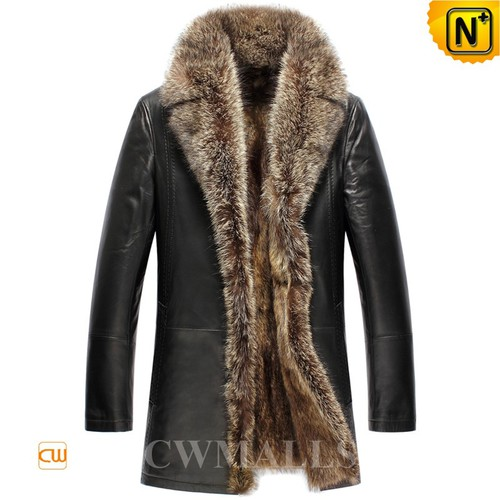 UK Brand | CWMALLS® London Raccoon Fur Leather Coat CW857367[CWMALLS Cyber Monday]