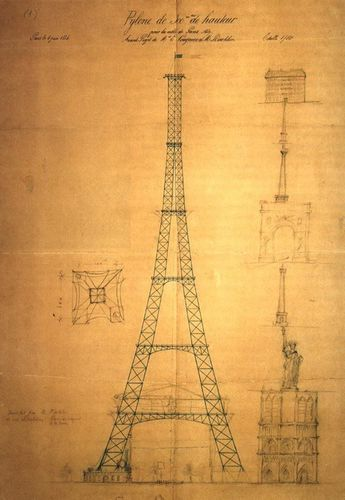 The first drawing of the Eiffel Tower by Maurice Koechlin, 1883. Including a size comparison with la