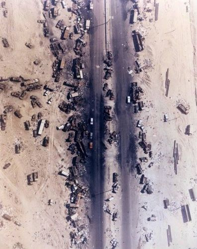 The Highway of Death, officially known as Highway 80. This is the result of US forces bombing Iraqi