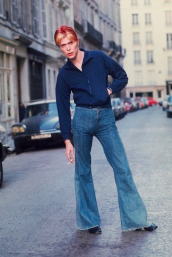 David Bowie outside L'Hotel in the left bank, Paris, 1976.