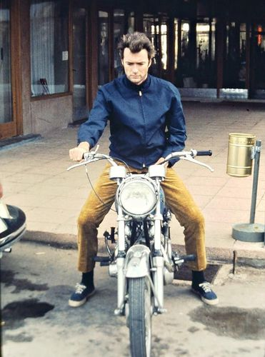 Clint Eastwood on his motorcycle, late 1960s.