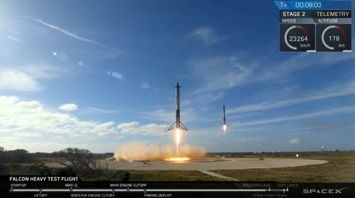 Falcon Heavy de SpaceX: photo du re-atterissage en douceur de deux boosters