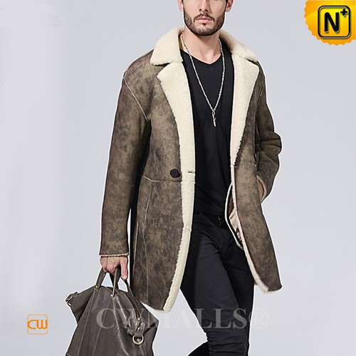 CWMALLS® Oslo Custom Mens Printed Shearling Trench Coat CW838006[Patent Design, Tailor Made]