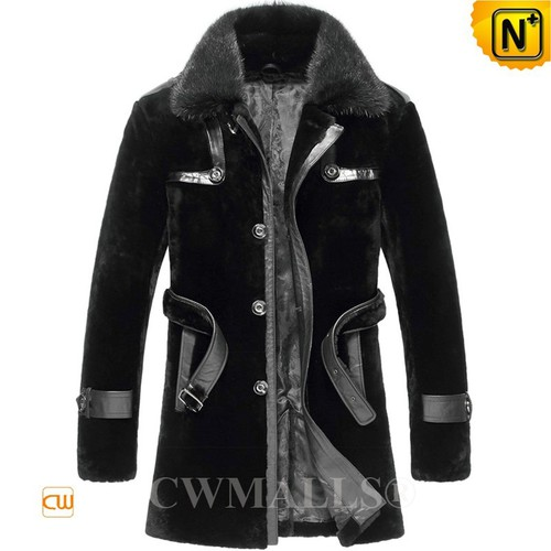 CWMALLS® Warsaw Shearling Fur Trench Coat for Men CW807146[Patent Design, Tailor Made]
