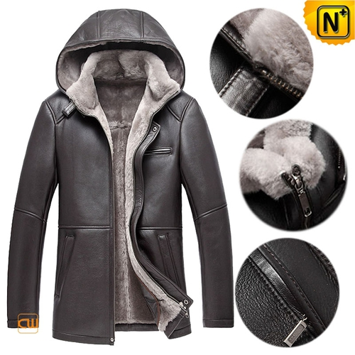 CWMALLS® Warsaw Men Sheepskin Leather Shearling Jacket with Hood CW878207[Patented Product]