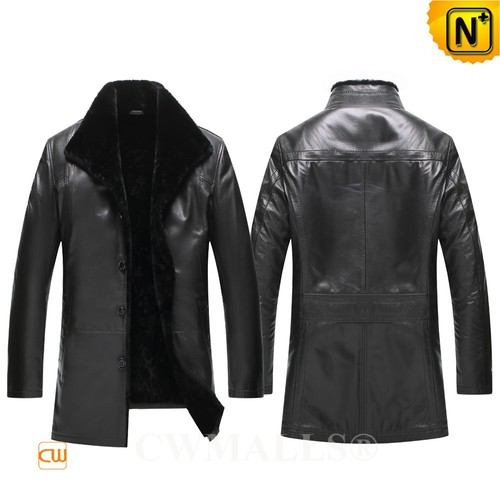 CWMALLS® Anchorage Designer Shearling Lined Leather Coat CW807803[Patented Product, Global Free Shi