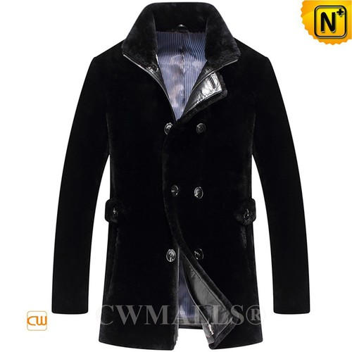 CWMALLS® Milwaukee Shearling Fur Pea Coat for Men CW807053[Patented Product, Global Free Shipping]